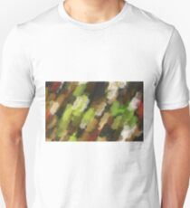 psychedelic graffiti camouflage painting abstract in green brown and red Unisex T-Shirt
