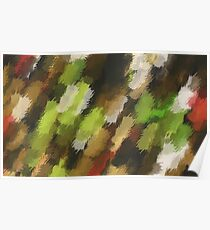 psychedelic graffiti camouflage painting abstract in green brown and red Poster