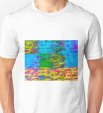 psychedelic graffiti painting abstract in blue yellow green pink T-Shirt