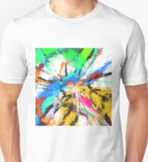 psychedelic graffiti painting abstract in blue green yellow red pink T-Shirt