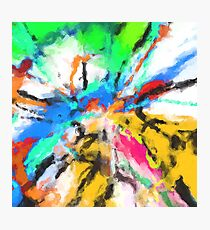 psychedelic graffiti painting abstract in blue green yellow red pink Photographic Print