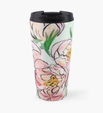 Watercolor Peonies Travel Mug