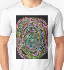 colorful psychedelic graffiti abstract in pink green blue yellow with black background T-Shirt