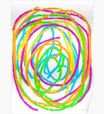 graffiti circle drawing abstract in pink blue green orange yellow Poster