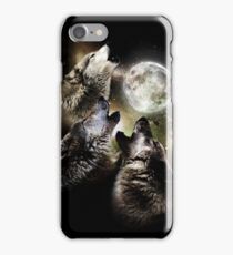 Wolves howl on full moon iPhone Case/Skin