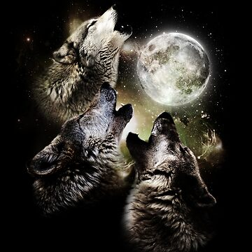 Wolves howl on full moon by ByStreetDesigns