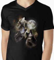 Wolves howl on full moon Mens V-Neck T-Shirt