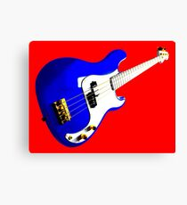 Blue Precision Bass Guitar on Red Canvas Print
