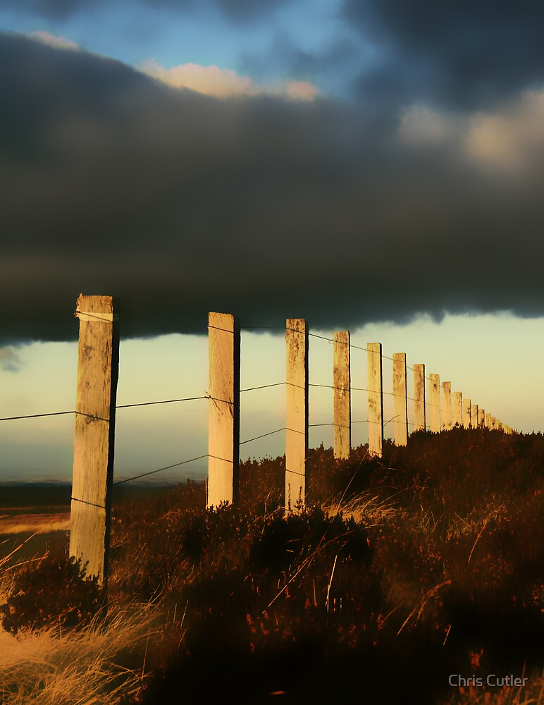 Fence under Stormy Skies by Chris Cutler