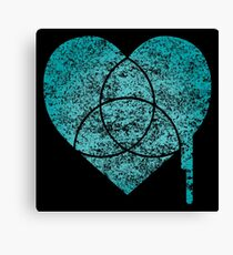 turquoise chart heart Canvas Print