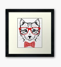 Hipster Cat Funny Geek Nerd Pet Framed Print
