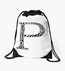 P Filled | Typography Drawstring Bag