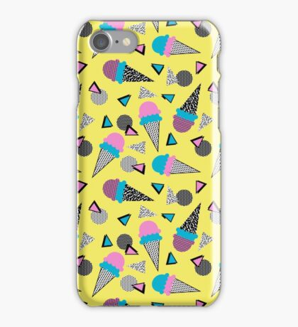 Cruncher - memphis throwback ice cream cone desert 1980s 80s style retro geometric neon pop art iPhone Case/Skin