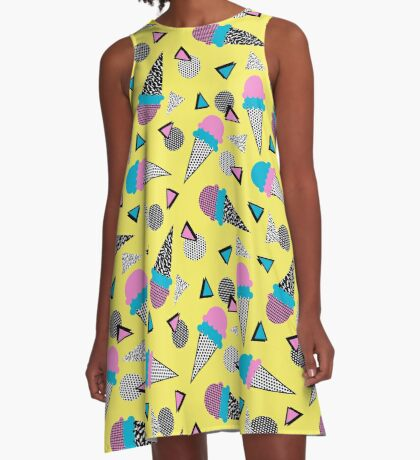 Cruncher - memphis throwback ice cream cone desert 1980s 80s style retro geometric neon pop art A-Line Dress