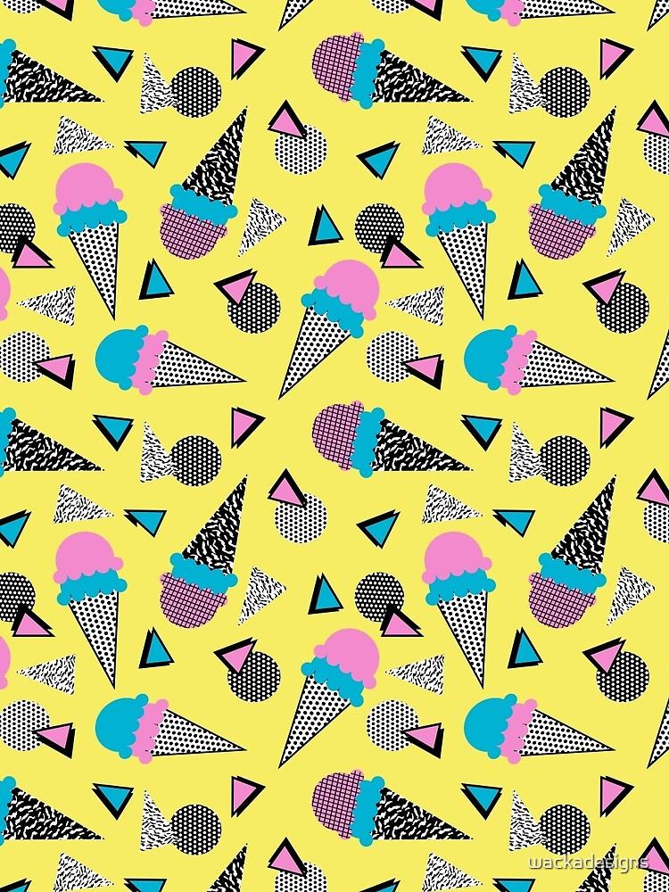 Cruncher - memphis throwback ice cream cone desert 1980s 80s style retro geometric neon pop art by wackadesigns
