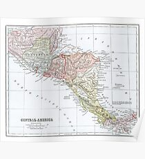 Vintage Map of Central America Poster