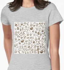Coffee Doodles Womens Fitted T-Shirt