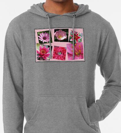 Pink Flowers of Summer Collage Leichter Hoodie