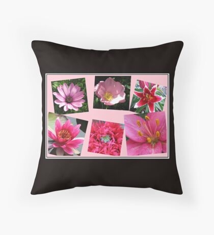 Pink Flowers of Summer Collage Dekokissen