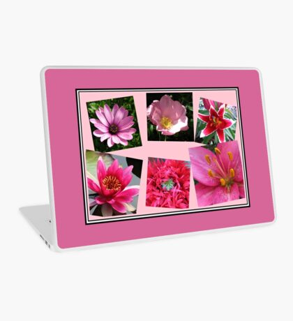Pink Flowers of Summer Collage Laptop Skin
