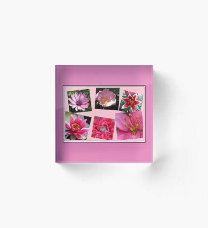 Pink Flowers of Summer Collage Acrylblock