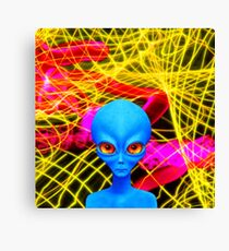 Psychedelic Alien Not So Grey In Blue Canvas Print