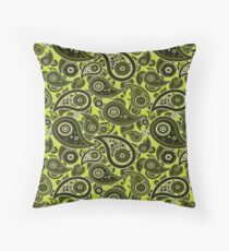 Lime Green Paisley Pattern Throw Pillow