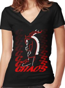 King of Chaos Women's Fitted V-Neck T-Shirt