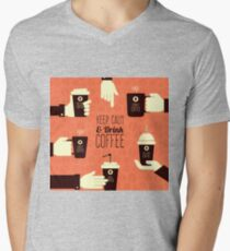 Keep Calm Drink Coffee Mens V-Neck T-Shirt