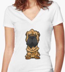 Shar Pei Women's Fitted V-Neck T-Shirt
