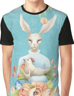 Beautiful Floral Flowers Female Animal Easter Bunny  Graphic T-Shirt