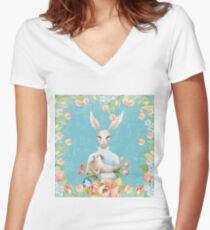 Beautiful Floral Flowers Female Animal Easter Bunny  Women's Fitted V-Neck T-Shirt