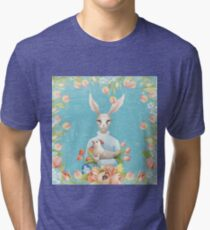 Beautiful Floral Flowers Female Animal Easter Bunny  Tri-blend T-Shirt