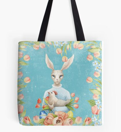 Beautiful Floral Flowers Female Animal Easter Bunny  Tote Bag