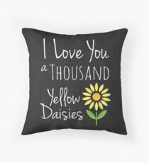 I Love You a Thousand Yellow Daisies Faux Chalkboard Background Throw Pillow