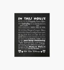Mouse House Rules with Faux Chalkboard Background Art Board Print