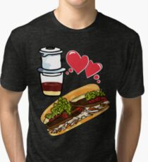 Coffee and banh mi - Vietnamese sandwich ca phe food asian beef vegetable healthy Tri-blend T-Shirt