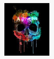 Skull and city with colors Photographic Print