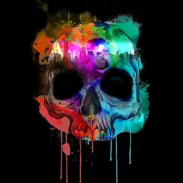 Skull and city with colors by ByStreetDesigns