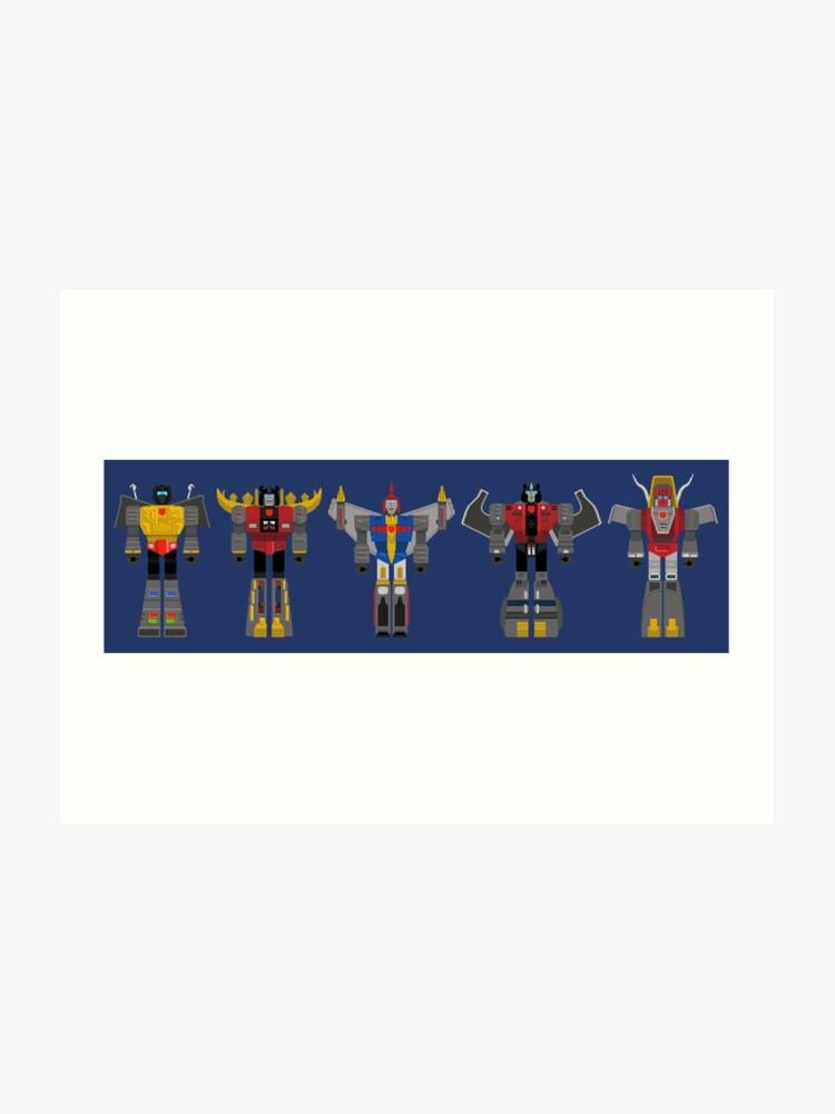 Dinobots Transformers Pixel Art Art Print
