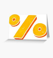 retro cartoon percentage symbol Greeting Card