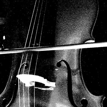 Cello Close Up in Black and White by Ribbon