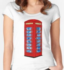 English Telephone Box Women's Fitted Scoop T-Shirt