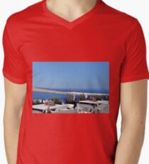 Beautiful terrace with chairs and tables in Santorini, Greece T-Shirt