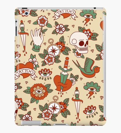 Traditional Old School Tattoo Pattern iPad Case/Skin