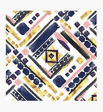 Tribal gold paint geometric brush strokes Photographic Print