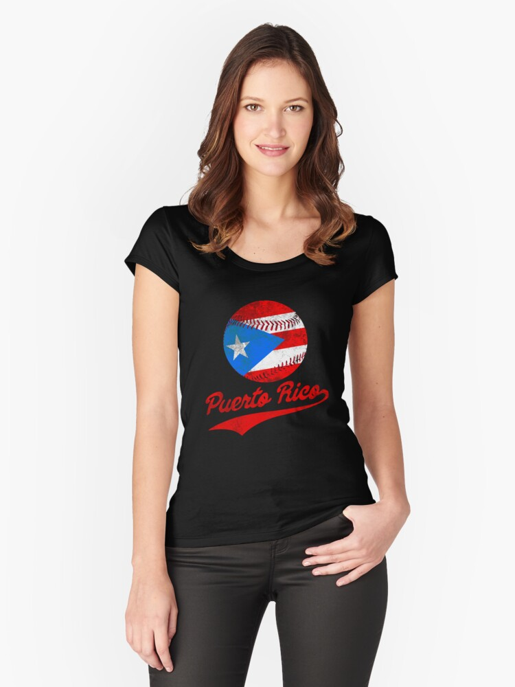 Puerto Rico Baseball Ball Flag Puerto Rican Women s Fitted Scoop T-Shirt  Front cb7938adac