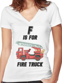 F is For Firetruck Women's Fitted V-Neck T-Shirt