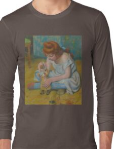 Federico Zandomeneghi - Young Girl Playing With A Doll Long Sleeve T-Shirt
