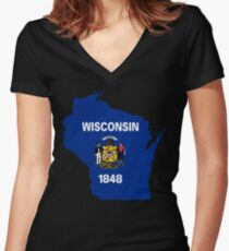 Wisconsin State Flag Map Women's Fitted V-Neck T-Shirt